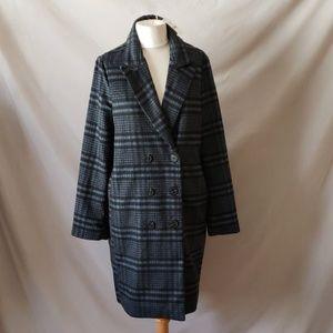 Melloday Black Blue Flannel Plaid  Coat